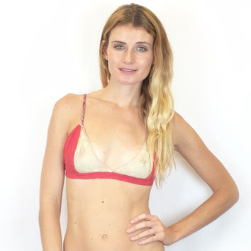 Larkspur - Hazel - Organic Cotton Bra - Red/Ivory
