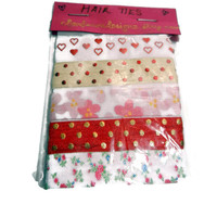 Elastic Red and Pink Hair Ties, Set of 5, No Tug Hair Ties, Polka Dot, Hearts, Flowers, Valentine's Hair Ties