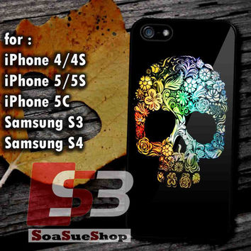 Rainbow Sugar Skull - Hard Plastic and Rubber Case for iPhone 4/4S, 5/5S, 5C And Samsung Galaxy S3, S4