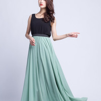 High Waist Bridemaid Skirt Chiffon Long Skirts Beautiful Elastic Waist Summer Skirt Floor Length Beach Skirt (101) ,78#