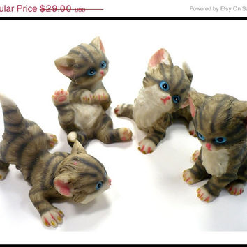 CIJ SALE Set 4  Kittens at Play, Lifelike Ceramic Kitten Figurines, Vintage Collectibles, Gift for Cat Lover