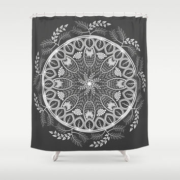 Shabby chic shower curtain, boho shower curtain, mandala shower curtain, black bathroom decor, fabric shower curtain