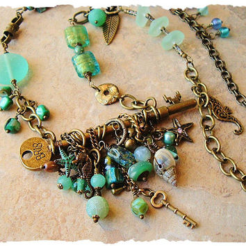 Sea Glass Necklace, Ocean Inspired Assemblage Necklace, Bohemian Jewelry, Sea life, bohostyleme, Kaye Kraus