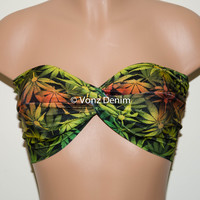 Marijuana Weed Leaf Twisted Bandeau, Swimwear Bikini Top, Cannabis Twisted Top Bathing Suits, Spandex Bandeau Bikini