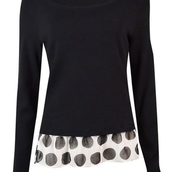 INC International Concepts Women's Polka-Dot Hem Sweater