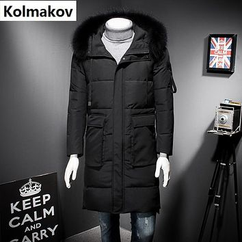 2017 winter Men's casual Hooded 90% white duck down down coats jackets Men's thick zipper down cotton-padded jacket trench coat