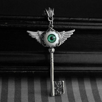 Winged skeleton key necklace with green eyeball cabochon - gothic - steampunk jewelry