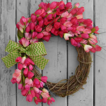 Spring Wreath - Summer Wreath - Pink Tulip Wreath - Front Door Wreath - Front Door Decoration - Mothers Day Gift  - Home Decor -