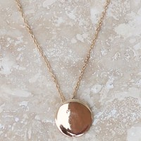 Gold Necklace-Disk Pendant Necklace-Gold-$25.00 | Hand In Pocket Boutique