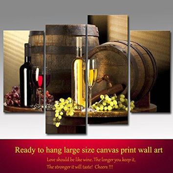 Grape and Wine Canvas Wall Art- Framed Wine Canvas Print Art for Kitchen, Bar, Restaurant Decoration-Nuolanart-P4S001
