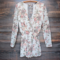 sunshine and floral open back romper