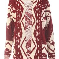 Aztec Knitted Cardigan / Wine - Womens Clothing Sale, Womens Fashion, Cheap Clothes Online | Miss Rebel