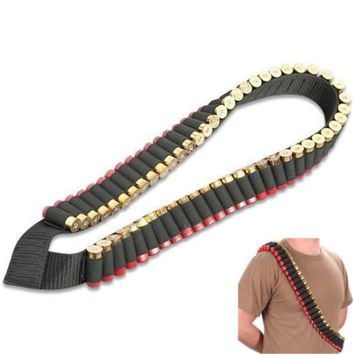Hunting Ammo Belt 50 Shells Shoulder Bandolier Belt Tactical 12 Gauge Bullet Holder Military Paintball Cartridge Belt