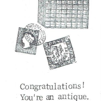 You're An Antique Birthday Card Funny Vintage Humor Collectibles Old Stamps Books Dad Mom Men Women