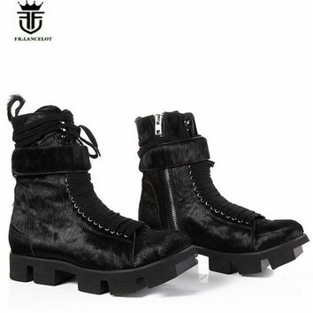 Real Picture Thick Sole  Men Genuine Leather Fur Tooling Boots Luxury catwalk Fashion Clogs Style Martin Boots