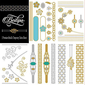 Metallic Sexy Temporary Tattoos 5 Premium Sheets Jewelry Inspired for Shimmer Body Art Deluxe Kit Set (Glamour)