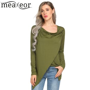 Meaneor Women Cowl Neck Long Sleeve Faux Wrap Asymmetric Hem Casual Black Shirts Tops 2018 Spring TShirt