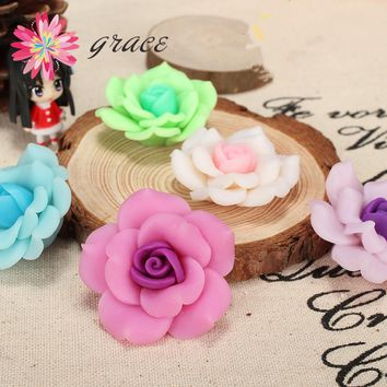 6pc/lot 35mm Large Polymer Clay Ceramic Anillo Fimo FLower Rose Beads For  Diy Hair Ring Necklace Jewelry Decoration Accessories
