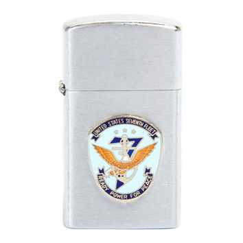 United States Navy Seventh Fleet Zippo Slim Style Lighter Circa 1950's Korean War Era