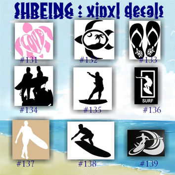 SURFING vinyl decals - 131-139 - surfer stickers - surfer girl - surf - surfboard - car decal - sticker - custom vinyl decals