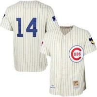 Mens Chicago Cubs Ernie Banks Mitchell & Ness Cream MLB Authentic Jersey