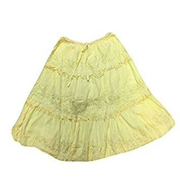 Mogul Womens Bohemian Skirt Yellow A-line Lacework Flare Bohemian Flirty Mini Skirts
