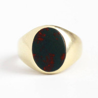 Vintage Bloodstone Ring - 14k Yellow Gold Dark Green & Red Gem Statement - Size 4 3/4 Oval Heliotrope Gemstone Classic Men's Fine Jewelry