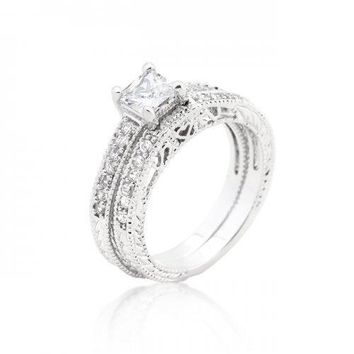 Princess Cut Filigree Bridal Ring Set (size: 09) (pack of 1 ea)