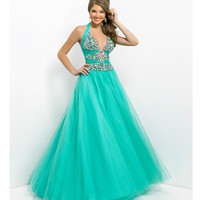(PRE-ORDER) Pink by Blush 2014 Prom Dresses - Meadow Halter Embellished Prom Gown