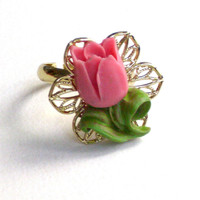 READY TO SHIP for Valentine's day: Gold plated pink tulip ring