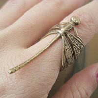 Dragonfly Ring- Antique Brass Detailed Dragon Fly Statement Adjustable Finger Wrap