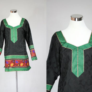 Exotic embroidery ethnic dashiki afghan hippie Boho cotton African bohemian black festival top tunic small medium large