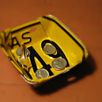 Upcycled Vintage Arkansas Yellow and Black License Plate Change Bowl/Business Card Holder