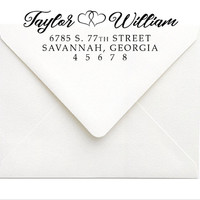 Calligraphy Address Stamp | Self Inking Address Stamp, Rubber Stamp | Modern Couples Wedding Stationery Stamp | Personalized Wedding Gift