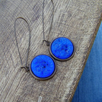 Cobalt Blue Glass Earrings. Olympian Blue. Antiqued French Roast Brass.
