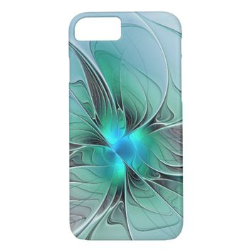 Abstract With Blue, Modern Fractal Art iPhone 7 Case