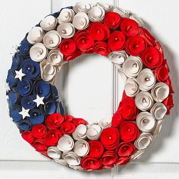 Patriotic American Wood Curl Wreath Door or Wall Decor Red White & Blue