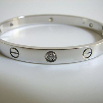 Cartier Love Bracelet White Gold 6 Diamond Size 17 Complete Set