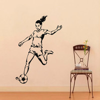 Soccer Wall Decals Girl Football Player Sport People Gym Decal Vinyl Sticker Home Interior Design Art Mural Kids Nursery Room Decor KG799