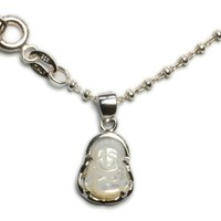 Cute , Tiny Life in Joy, Happy Buddha Sterling Silver Amulet Necklace