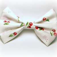 Rockabilly Bow - Cherries, Pin Up, 50s Hair Accessories - Womens, Teens, Big - 4 Inch Hair Bow Clip, Fabric, White