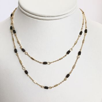 Gemma Black Stone Gold Necklace