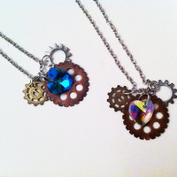 SteamPunk Gears - Disney/Mickey Mouse Inspired - Swarovski Crystal Heart Necklace