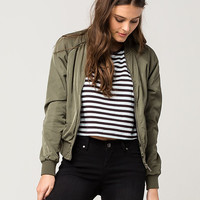FULL TILT Matte Satin Womens Bomber Jacket | Jackets