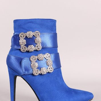 Faux-Crystal Buckle Embellished Suede Pointy Toe Booties