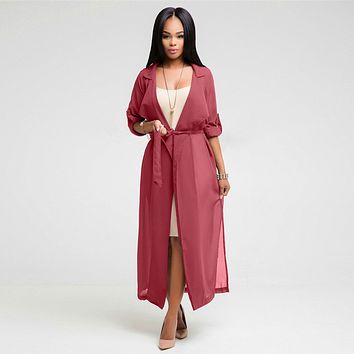 Stylish Elegant Fashion Belted Women Long Trench Coat Solid Color Chiffon Slim Cardigan Outwear Casual Loose Women Coat Dress