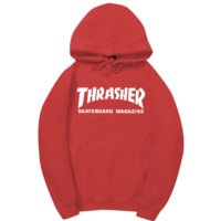 Red Thrasher Print Women's Long Sleeve Hoodies Sweater