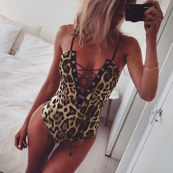 2017 fashionable Leapord lady strappy Jumpsuit One Piece top  a13861