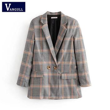 Women Plaid Elegant Suit Coat Ladies Vintage Single Button Pockets Fashion Jacket Autumn Casual Outwear Capa Mujer VANGULL 2018