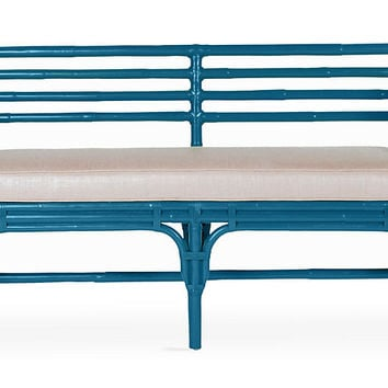 Sydney Bench, Pacific Blue - Standard Benches - Benches - Living Room - Furniture | One Kings Lane